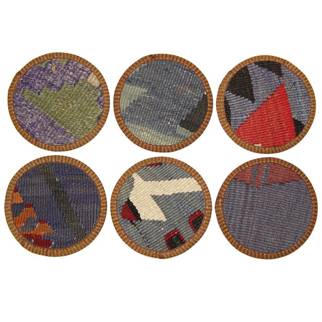 Kilim Afyon Coasters - Set of 6 - Image 2 of 2