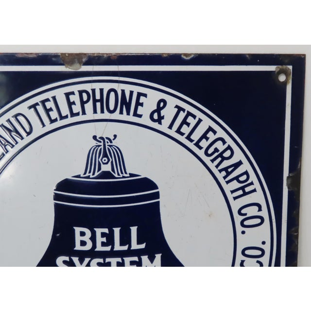 1910s Antique Porcelain on Steel Bell Telephone Advertising Sign For Sale - Image 5 of 13