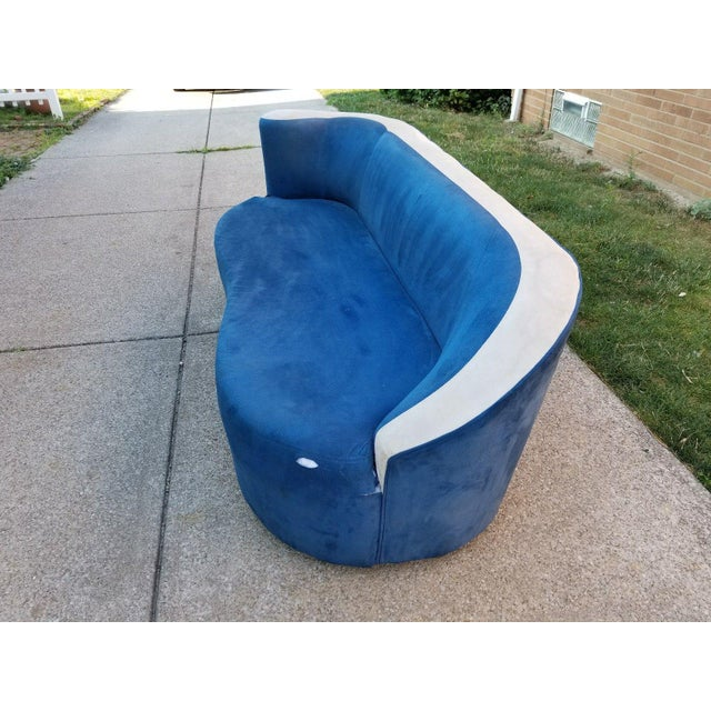 Vladimir Kagan for Directional Nautilus Sofa in Blue Velvet - Image 3 of 11