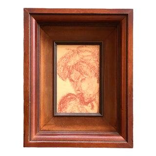 Vintage Framed Original Miniature Sepia Female Portrait Drawing For Sale