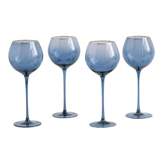 Siren Beverageware Atlantic Blue + Gold White Wine - Set of 4 For Sale