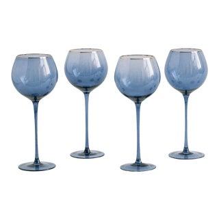 Siren Beverageware Atlantic Blue + Gold White Wine - Set of 4