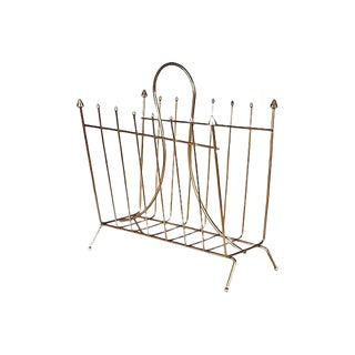 1960s Gilt Metal Magazine Rack