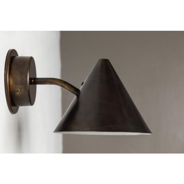Early 21st Century Hans-Agne Jakobsson 'Mini-Tratten' Patinated Brass Outdoor Sconces - a Pair For Sale - Image 5 of 9
