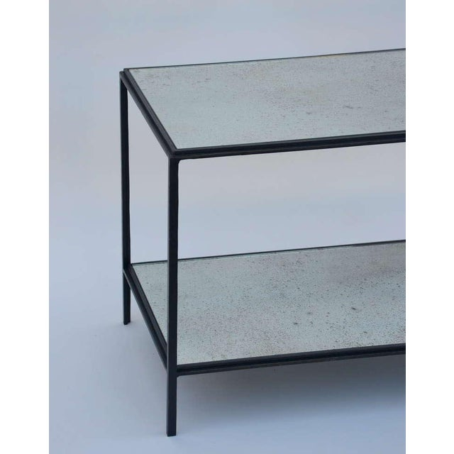 2010s Contemporary Design Frères 'Rectiligne' Wrought Iron and Mirror End Tables - a Pair For Sale - Image 5 of 11
