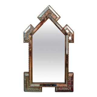 Antique Italian Neoclassical Style Gilt Wood With Inset Mirrored Pieces Mirror For Sale
