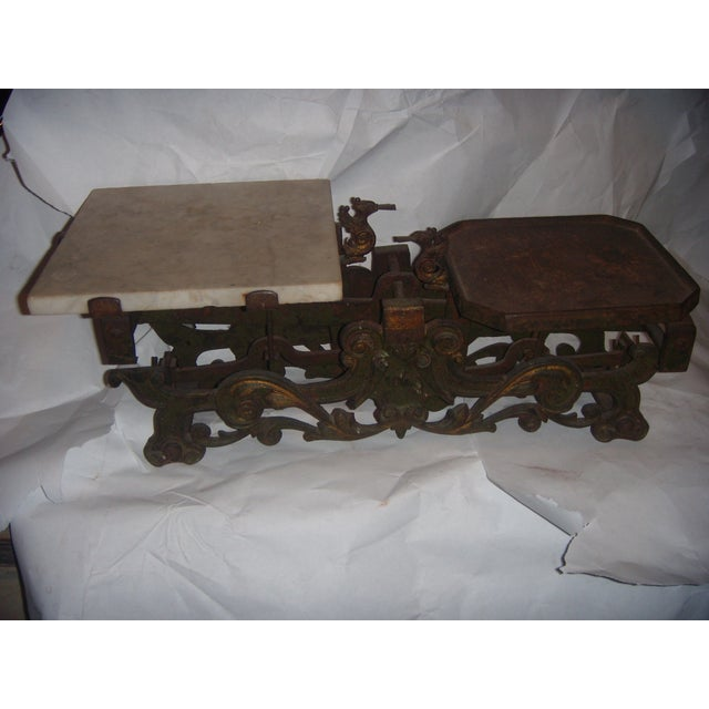 Traditional Victorian German Made Cast Iron & Marble Scale For Sale - Image 3 of 11