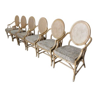 Rattan Double Cane Back Armchairs - Set of 6