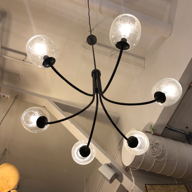 Glass West Elm 6-Light Eclipse Chandlier For Sale - Image 7 of 13