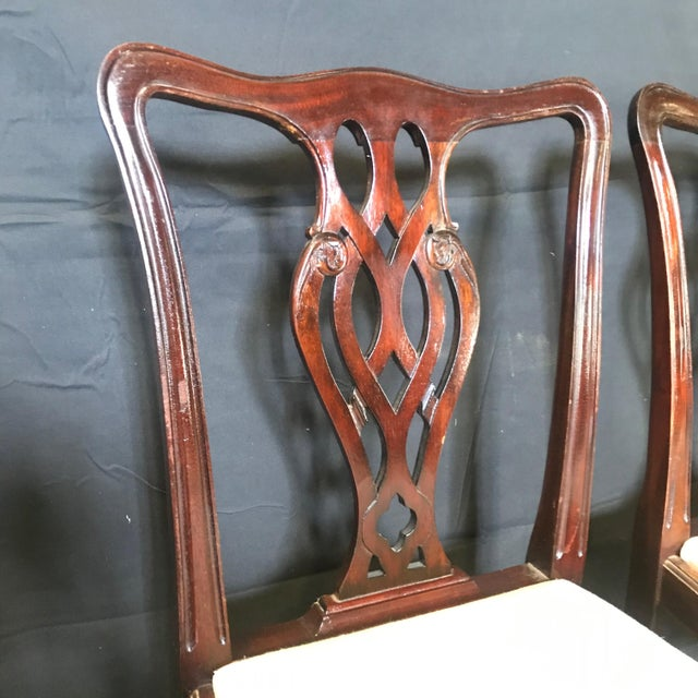 Wood 19th Century Antique English Mahogany Chippendale Style Dining Chairs-Set of 6 For Sale - Image 7 of 13
