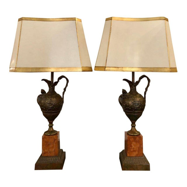 Pair of Antique Bronze Patinated Figural Urn Lamps W Sienna Marble Bases For Sale - Image 4 of 4