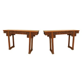 19th Century Chinese Finely Carved Qing Dynasty Scroll Tables - a Pair For Sale