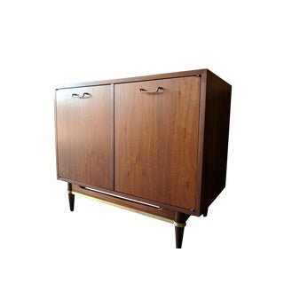 Mid Century Walnut and Brass Cabinet by Merton Gershon for American of Martinsville