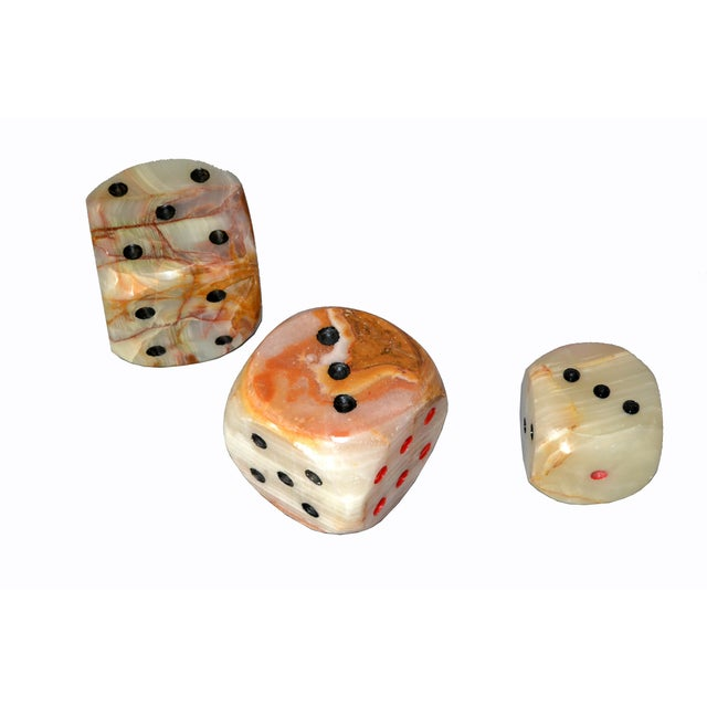 Oversized Mid-Century Modern Handcrafted Marble & Onyx Dice Sculptures - Set of 3 For Sale - Image 11 of 13