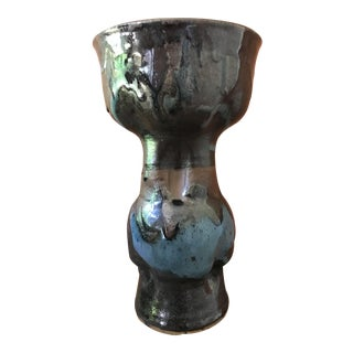 Contemporary/Abstract Tall Studio Blue & Black Pottery