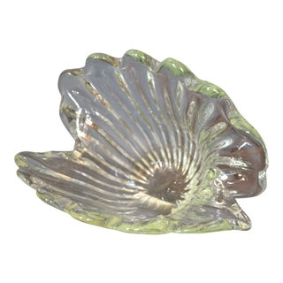 Archimede Seguso Hand Blown Clear Murano Glass Clam Shell Centerpiece, Italy For Sale