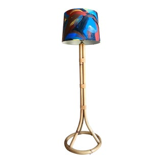 French Mid Century Bamboo Rattan Floor Lamp With Hand Painted Abstract Art Shade Louis Sognot For Sale