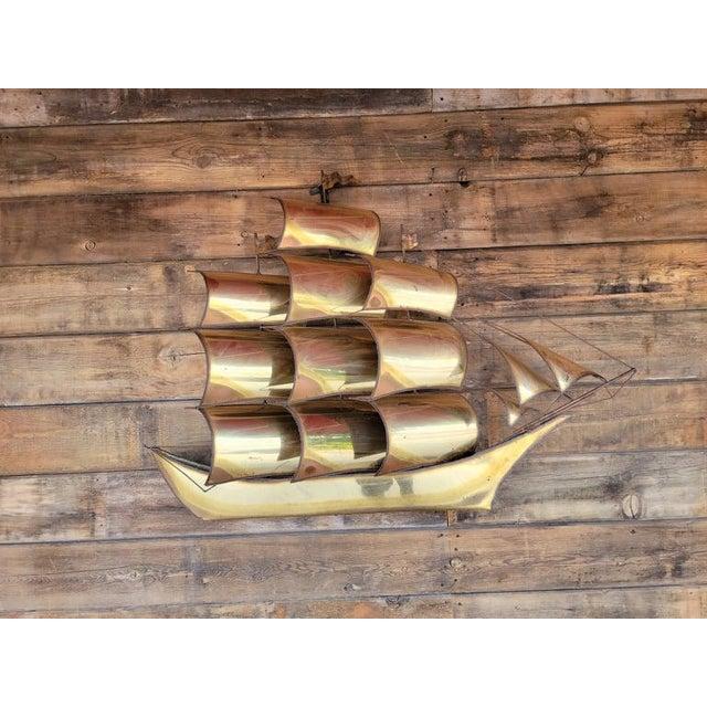 1970s Vintage Brass Ship Sculpture For Sale - Image 12 of 13