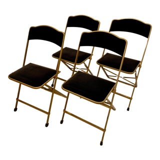 Hollywood Regency Black Velvet Folding Chairs by A. Fritz & Co.- Set of 4 For Sale