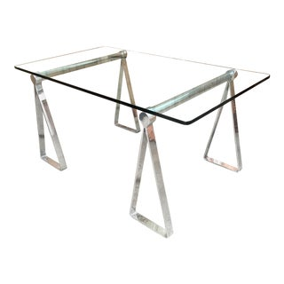 Mid-Century Modern Mirrored Polished Aluminium Sawhorse Table Desk For Sale
