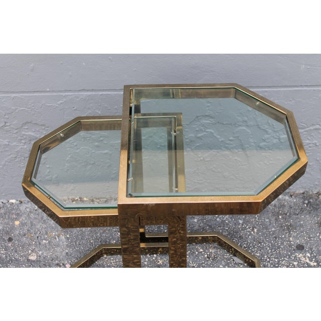 Mid-Century 2 Tier Brass Glass Nesting Tables - A Pair - Image 8 of 11