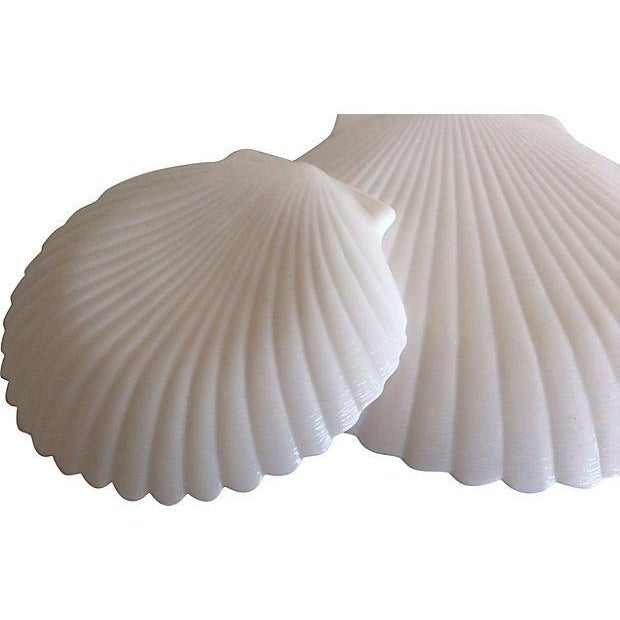 Milk Glass Shell Plates & Platter - 6 Pieces - Image 3 of 4