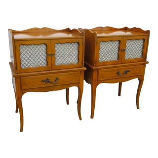French Tall Cherry Pair of Nightstands Side End Tables by Stiehl Furniture For Sale