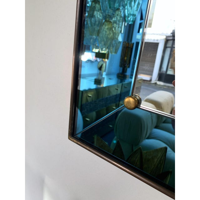 Mirror Blue and Brass by Cristal Art. Italy, 1960s For Sale - Image 9 of 13
