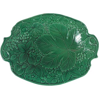 19th-C. Green Majolica Strawberry Platter