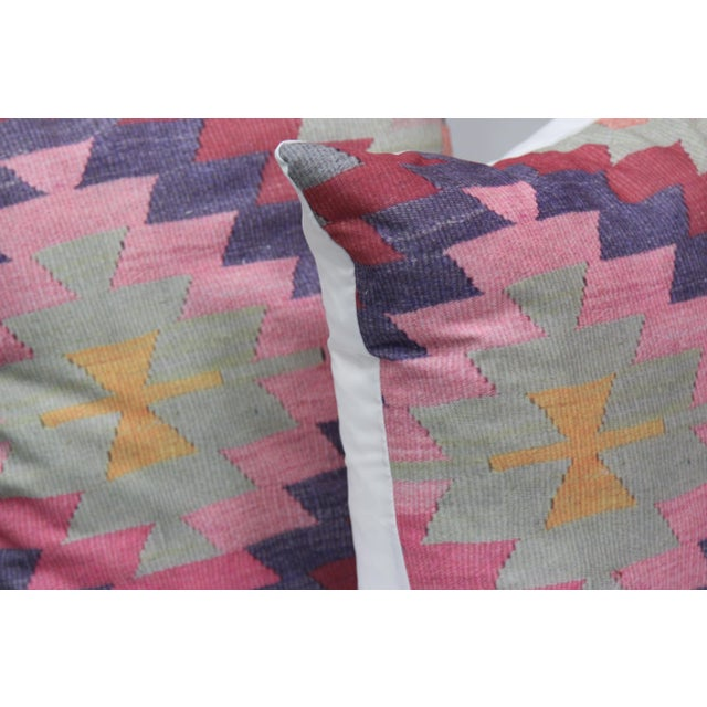 Diamond Pattern Kilim Inspired Print Pillows - a Pair-16'' - Image 3 of 6
