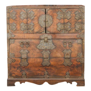 Brass Fitted Korean Wedding Chest For Sale