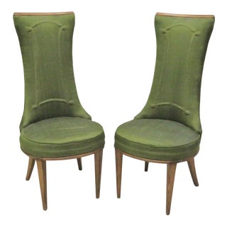 Deco High Back Side Chairs - A Pair For Sale