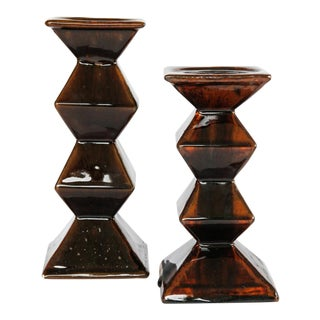 Vintage Dark Brown Ceramic Pillar Candle Holders - a Pair For Sale