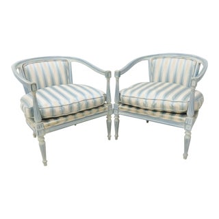 Louis XV Style Distressed Blue Painted Armchairs - a Pair For Sale