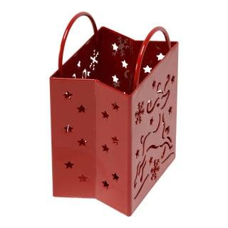 Vintage Christmas Votive Holder, Steel Gift Bag, Refinished in Red For Sale