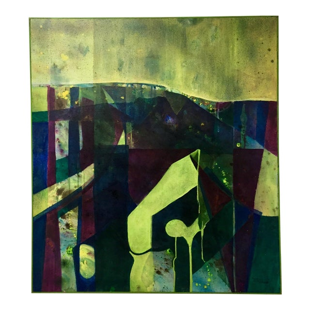 Abstract Oil on Canvas Painting by Margie Cameron For Sale