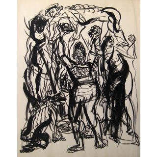 Jennings Tofel Abstract Expressionist Figures in Ink Wash on Paper, Early to Mid 20th Century Early-Mid 20th Century For Sale