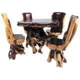 Image of Rustic Live Edge Root Table With Chairs For Sale