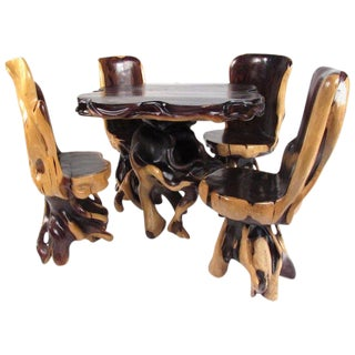 Rustic Live Edge Root Table With Chairs For Sale