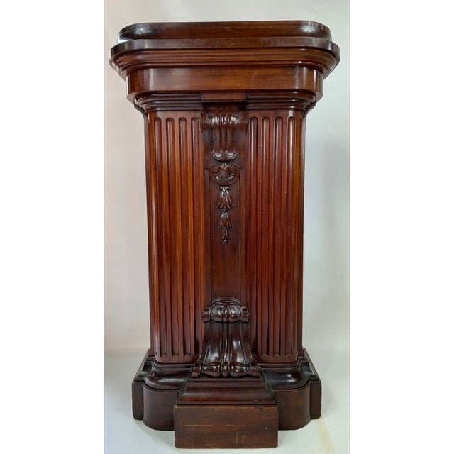 1870s Victorian Carved Mahogany Pedestal For Sale - Image 13 of 13