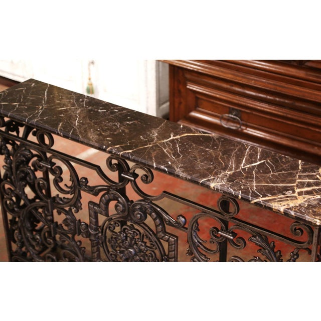 French 18th Century French Louis XV Polished Iron Console Table With Grey Marble Top For Sale - Image 3 of 13