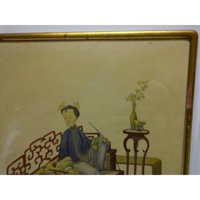 "Vintage ""Relaxing"" Framed Chinese Print For Sale - Image 4 of 5"