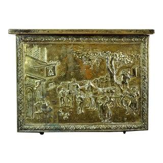 Vintage Hand Hammered Cottage Scenery Embossed Brass Fireside Storage Kindling Box Trunk