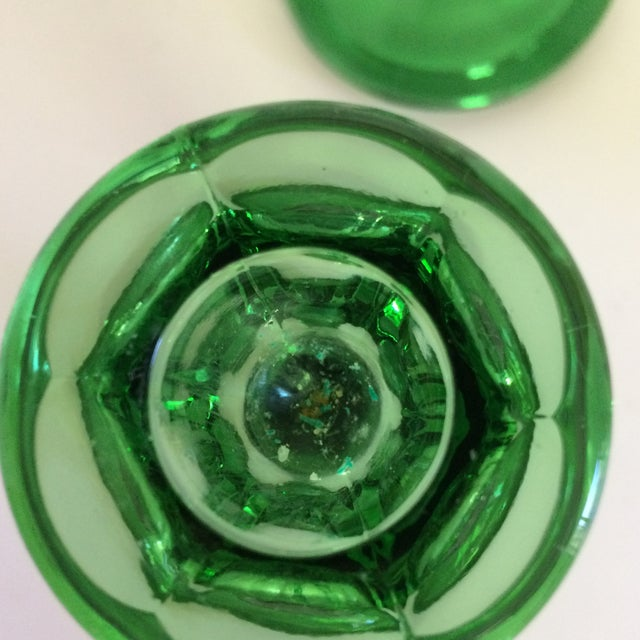 Fostoria Vintage Green Crystal Candle Sticks by Fostoria For Sale - Image 4 of 11