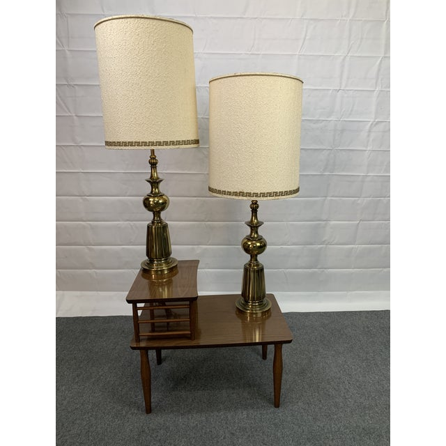 Mid-Century Modern 1960s Brass Stiffel Table Lamps With Glass Diffusers and Shades - a Pair For Sale - Image 3 of 11