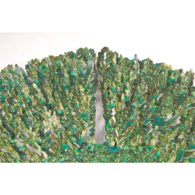 Fabio Ltd Green and Gold Iron Seaweed Wall Sculpture by Fabio Ltd For Sale - Image 4 of 6