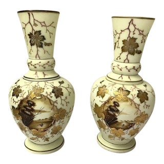 Late 19th Century Hand Decorated Bristol Glass Vases - a Pair For Sale