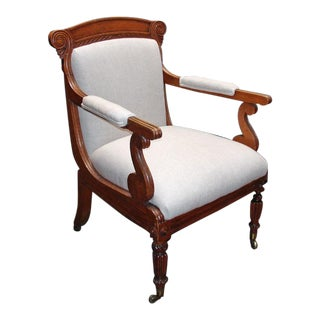 A William IV Oak Open Arm Chair