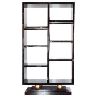 Art Deco Style Lacquer Etagere/Bookshelf With 24Kt Gold Orbital Embellishments For Sale