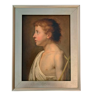 18th Century European School Portrait of a Child Saint Oil on Canvas Painting For Sale